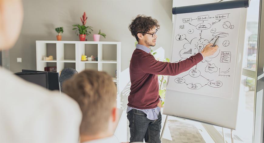 Ledelsen i bedriften planlegger forretningsutvikling og utvikling av tjenester for å øke virksomhetens lønnsomhet